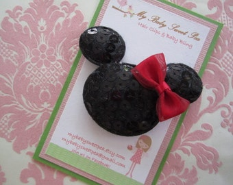 Minnie mouse hair clips - girl hair clips - girl barrettes