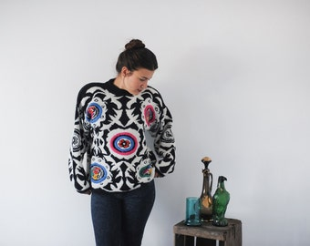 Kitty Hawk by Vivien Wang Black and White Oversize Sweater