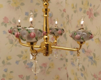 Dollhouse Miniature Shabby Chic Pink Roses Crystal 4 Arm Chandelier