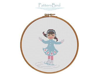 A Little Girl Ice Skating II. Instant Download PDF Cross Stitch Pattern