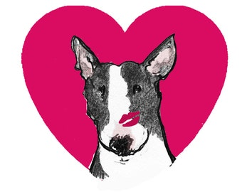 """Black and White Bull Terrier Valentine Card """"My Funny Valentine"""""""