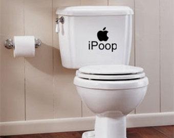 iPoop Apple Toilet Tank Vinyl Wall Lettering Words Quotes Decals Art Custom
