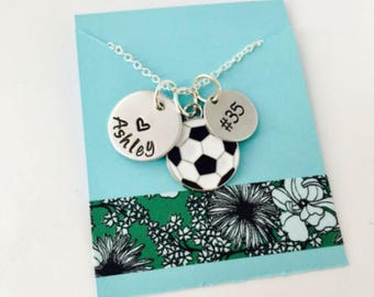 Soccer Necklace, Hand Stamped Soccer Necklace, Soccer Girl Necklace, Soccer Team, Girls Soccer Necklace , Hand Stamped Personalized