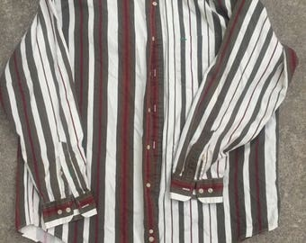 Vintage 1990s Striped Tommy Hilfiger Button Down Long Sleeves Collar Shirt