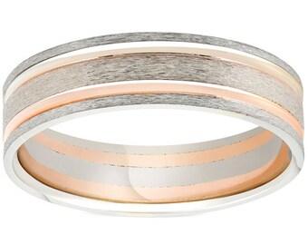 14k Rose & White Gold 6MM Flat Comfort Fit Mens Brushed Two Line Wedding Band