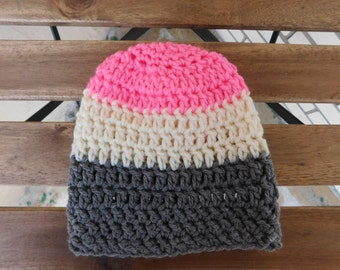 Pink Grey and Cream Crochet Toddler Beanie // Baby Slouch Beanie // Baby Toque // Knit Baby Beanie