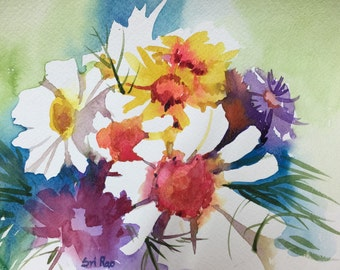 SALE 40%OFF Summer Bouquet- Floral Original Watercolor painting by SriWatercolors 9 x 12 in