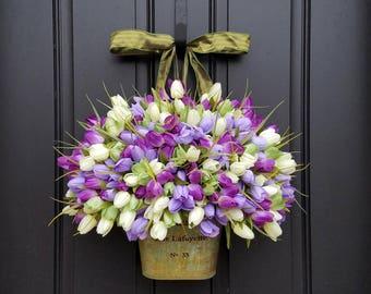 Wreaths Tulips Farmhouse Door Wreaths Tulips Mother's Day Wreath Easter Wreaths Easter Tulips Trending Wreaths Shabby Chic Decor