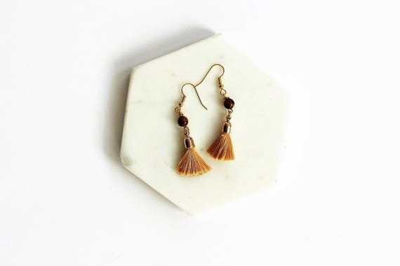 Tigers Eye & Tassel Earrings