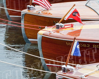 Antique Wooden Boats in a Row - Portrait Photograph