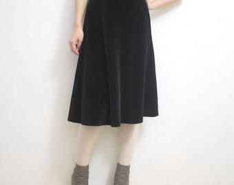 70s does 50s black velvet skirt. full velvet skirt. belted velvet skirt - medium