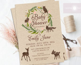 Jadorepaperie on etsy woodland baby shower invitation woodland baby shower woodland invitation rustic baby shower invite filmwisefo Images