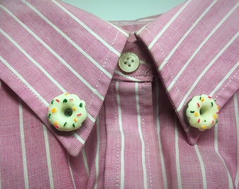 Adorable donut collar pins - Decorative collar pins - Lapel pins - Sweater pins - Food jewelry - Gift under 10 - Gift for her - Cute jewelry