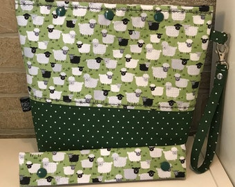 Sheep snap top project bag with flat bottom and knitting needle cozy - ready to ship