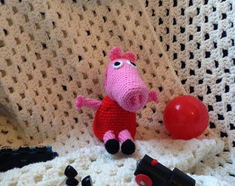Peppa Pig crochet figure, crocheted Peppa Pig toy, Peppa Pig handmade toy