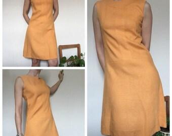 60s Vintage orange shertbet linen shift mod dress uk 10/12