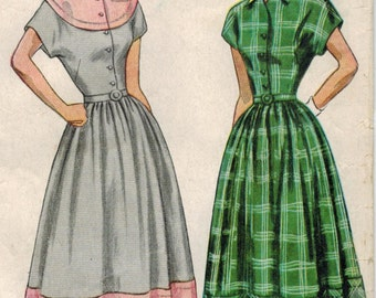 1940s Simplicity 2481 Vintage Sewing Pattern Misses Shirtwaist Dress, Full Skirt Dress Bust 12 Bust 30