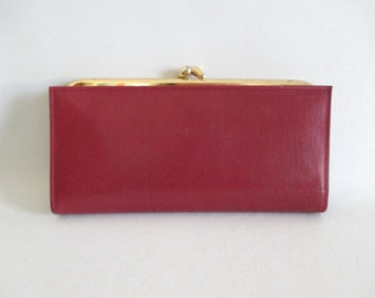 Burgundy Leather Wallet Kiss Clasp Made in Canada by Norfolk Vintage New in Box