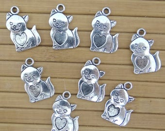 8 charms connectors pendants cats bc160 antiqued silver-plated