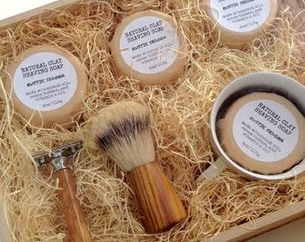 Deluxe Shaving Kit - olive wood safety razor. badger brush. men's grooming. handmade shave kit. ready to give. wet shave. double edge razor