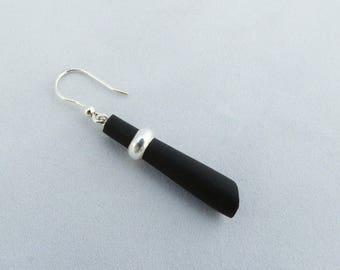 Single earring! ebony with silver half-rush; gastyne workshop