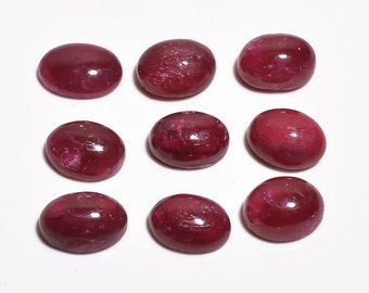 9 Pieces Dyed Ruby Cabochons Lot 8.5x11mm Oval Shape Natural Ruby Gemstone Cabochon Loose Gemstones Loose Stones Cabs Precious