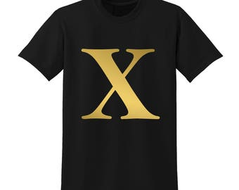 Personalised Alphabet Tshirt Favourite Letter Custom Name Black Initials X