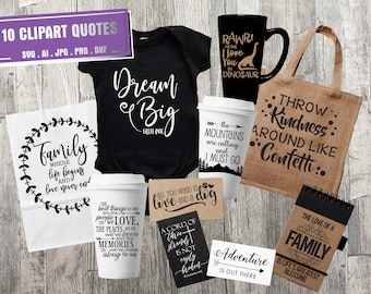 SVG Quote Bundle for Craft Projects, Sayings for Vinyl Die Cut Silhouette Stencil, DXF Cricut Clipart Designs, Vector Clipart Quote, SVG Set