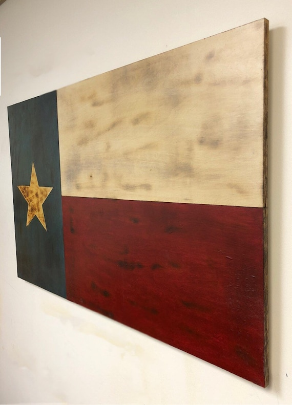 Rustic Wooden Texas State Flag Wood Burned Lone Star Flag
