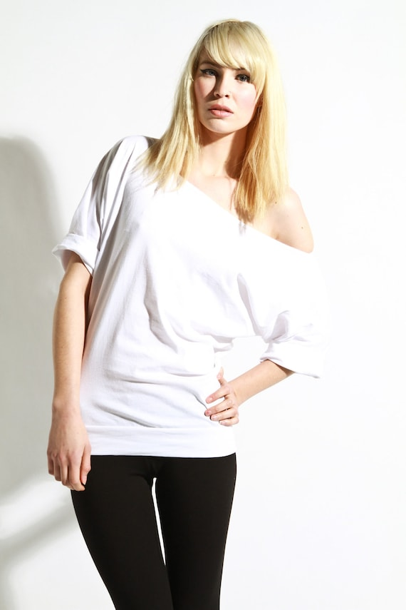 Off The Shoulder Top Oversized Cotton Shirt Womens Tee