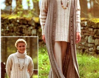 womens long waistcoat and polo neck sweater dk knitting pattern 99p pdf
