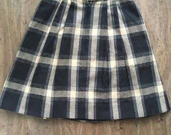 Wool Plaid Skirt, Vintage 1970s