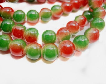 30pc 8mm Spray Painted glass round beads-8301