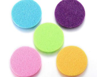 10 Nonwovens Round Felt Oil Diffuser Pads for Locket Fit 30mm Asst Colors (B468g)