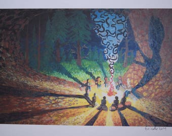 """Campfire Stories - 8.5x11"""" giclee print on 110lb acid free paper by D. Grindle"""
