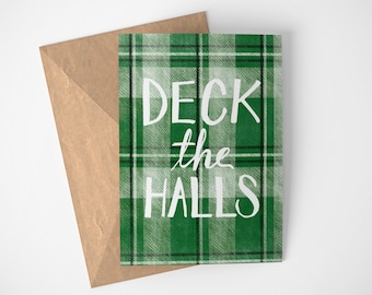 Deck The Halls Card, Traditional Christmas Card, Plaid Christmas Card, Christmas Card For Coworkers, Christmas Carol Card, Deck The Halls