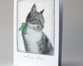 Christmas Cat, cártaí nollag, Nollaig Shona, christmas card in Irish, merry christmas as Gaeilge