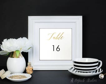Gold Table Numbers, Printable Table Numbers | Instant Download Wedding Table Numbers | Printable table number Template | Calligraphy | 005G