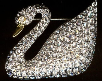 Swarovski Signed Rhodium Plated Swan Brooch Pin set with Clear Crystals