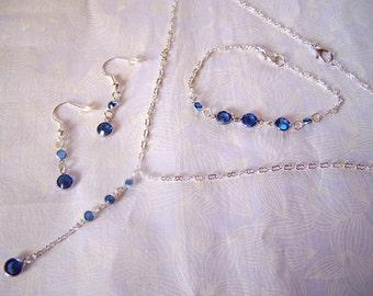 Jewelry Set Swarovski Crystal Channels Y Necklace Bridal Bridesmaids