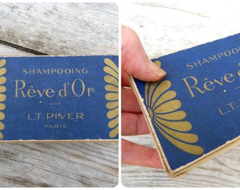 Vintage 1920/1930s French Cardboard box / Shampoing Reve d'Or de LT Pivert / Beauty /Vanity