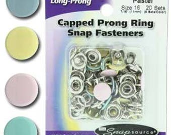 Long Prong Snap Size 16 Fasteners, Prong Capped Mixed Pastel Colors - 20 Fasteners per Order