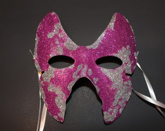 Magenta and silver glitter Butterfly mask