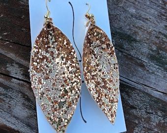 Glitter Leaf Earrings-Gold Dangle Earrings-Magnolia Inspired Leaf Earrings-Joanna Gaines Inspired Leaf Earrings