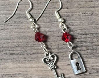 Lock and Key Charm Swarovski Earrings