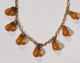 Bakelite necklace vintage apple juice bakelite teardrops and brass chain rare collectible jewelry Mid Century