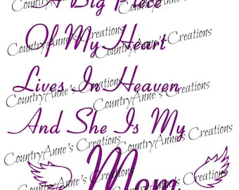 "SVG PNG DXF Eps Ai Wpc Cut file for Silhouette, Cricut, Pazzles, ScanNCut - ""Mom in heaven"" svg"