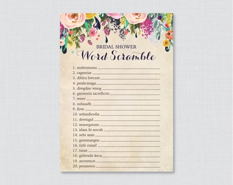 Floral Bridal Shower Word Scramble - Printable Colorful Flower Bridal Shower Game - Shabby Chic Garden Bridal Shower Word Scramble 0002-A