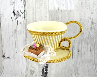 Gold Striped and Cream and Gold with Petit Four Tea Cup Fascinator Hat, Alice in Wonderland Mad Hatter Tea Party, Derby Hat