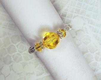 "Cynthia Lynn ""CELEBRATE"" Swarovski Crystal Citrine Gold November Birthstone Silver Stretch Ring"